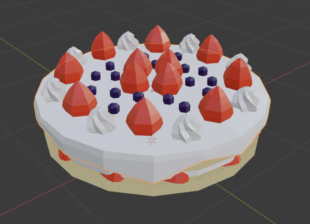 ローポリゴンのケーキ